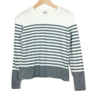 Joie Grey and Cream Striped Sweater